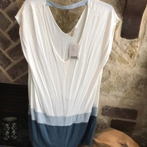 NWT Anthropologie tunic cream blues Medium